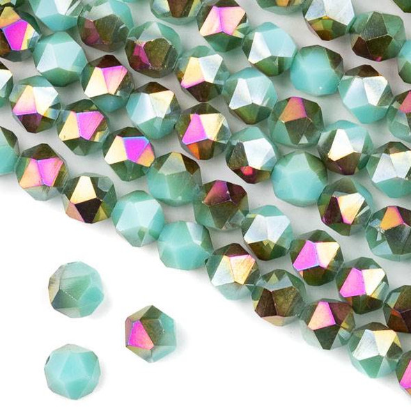 Crystal 8mm Star Cut Beads -  Opaque Hot Pink Golden Copper Kissed Arctic Blue - 15.5 inch strand