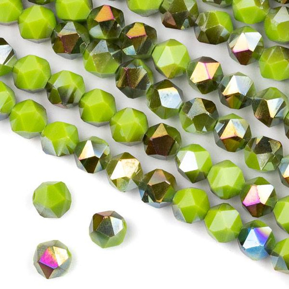 Crystal 8mm Star Cut Beads -  Opaque Hot Pink Golden Copper Kissed Sour Apple Green - 15.5 inch strand