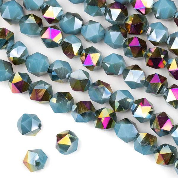Crystal 8mm Star Cut Beads -  Opaque Hot Pink Golden Copper Kissed Blue Grey - 15.5 inch strand