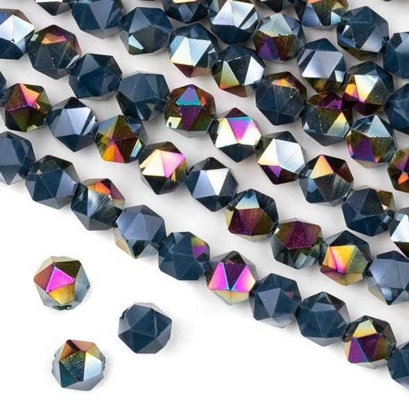 Crystal 8mm Star Cut Beads -  Opaque Hot Pink Golden Copper Kissed Deep Lake Blue - 15.5 inch strand