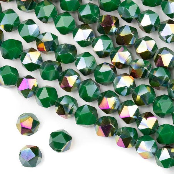 Crystal 8mm Star Cut Beads -  Opaque Hot Pink Golden Copper Kissed Green - 15.5 inch strand