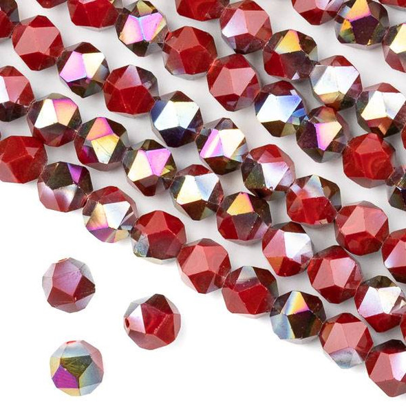 Crystal 8mm Star Cut Beads -  Opaque Hot Pink Golden Copper Kissed Chinese Red - 15.5 inch strand