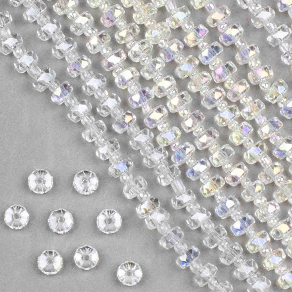 Crystal 4x6mm Clear Faceted Heishi Beads with an AB finish - 16 inch strand