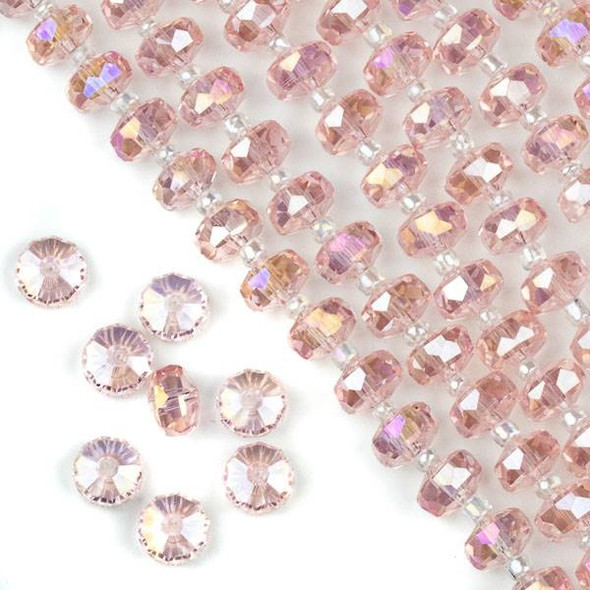 Crystal 5x7mm Pink Faceted Heishi Beads with an AB finish - 16 inch strand