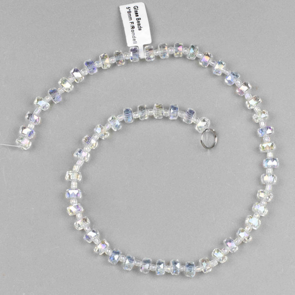 Crystal 5x8mm Clear Faceted Heishi Beads with an AB finish - 16 inch strand