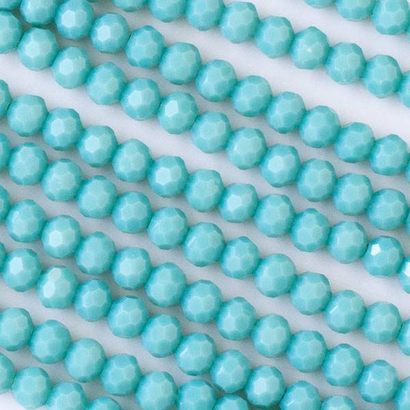 Crystal 6mm Opaque Arctic Blue Faceted Round Beads - Approx. 15.5 inch strand