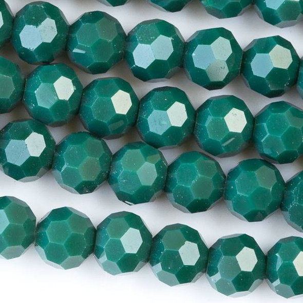 Crystal 6mm Opaque Crocodile Green Faceted Round Beads - Approx. 15.5 inch strand
