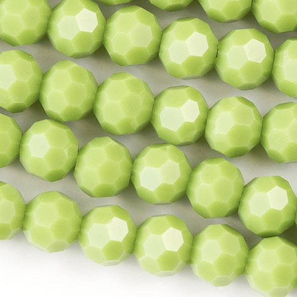 Crystal 6mm Opaque Sour Apple Green Faceted Round Beads - Approx. 15.5 inch strand