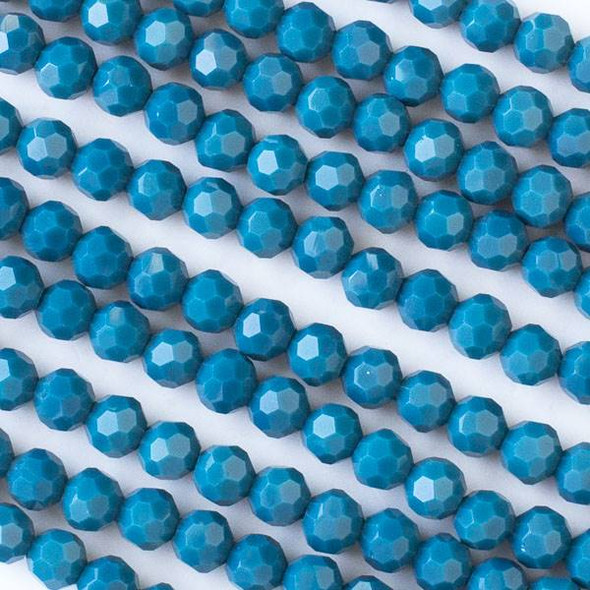 Crystal 6mm Opaque Lake Blue Faceted Round Beads - Approx. 15.5 inch strand