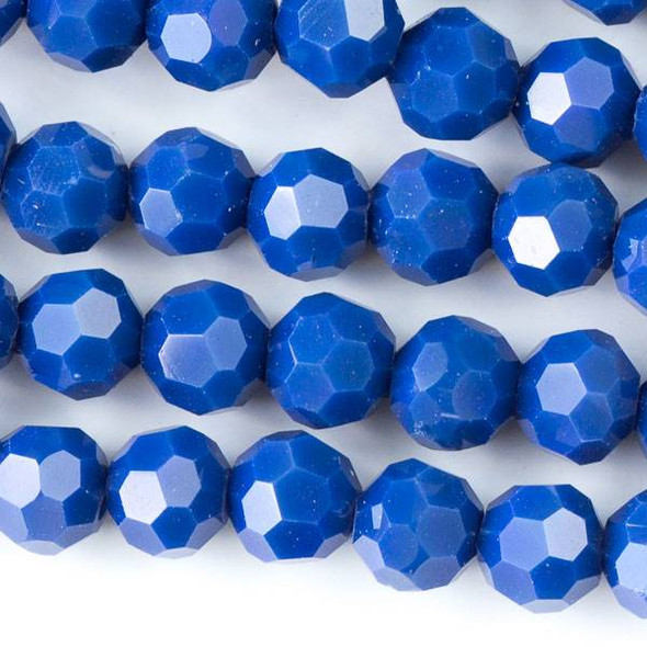 Crystal 6mm Opaque Dark Lake Blue Faceted Round Beads - Approx. 15.5 inch strand