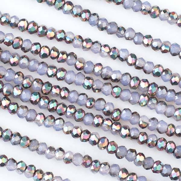 Crystal 2x2mm Opaque Purple Hydrangea Rainbow Faceted Rondelle Beads - Approx. 15.5 inch strand