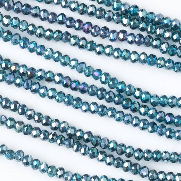 Crystal 2x2mm Blue Green Bahama Mermaid Faceted Rondelle Beads - Approx. 15.5 inch strand