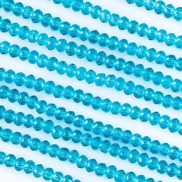 Crystal 2x2mm Dark Caribbean Aqua Blue Rondelles -Approx. 15.5 inch strand