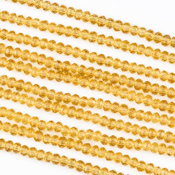 Crystal 2x2mm Champagne Rondelle Beads -Approx. 15.5 inch strand