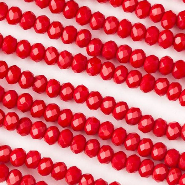Crystal 2x2mm Opaque Chinese Red Rondelles - Approx. 15.5 inch strand