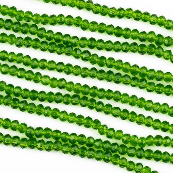 Crystal 2x2mm Dark Emerald Green Rondelle Beads -Approx. 15.5 inch strand
