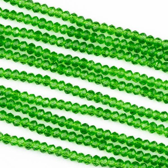 Crystal 2x2mm Emerald Green Rondelle Beads -Approx. 15.5 inch strand