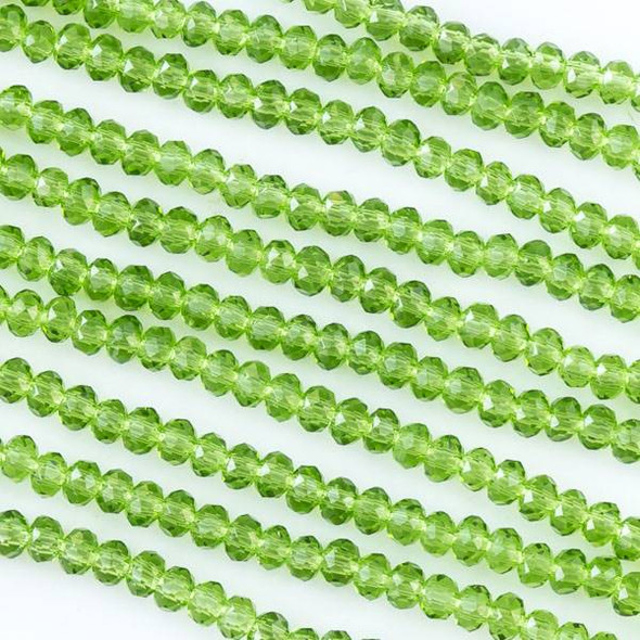 Crystal 2x2mm Grass Green Rondelles - Approx. 15.5 inch strand