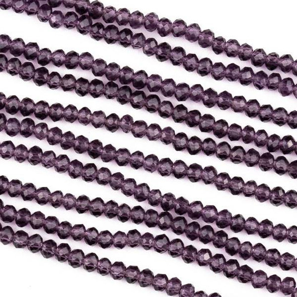 Crystal 2x2mm Lilac Purple Rondelle Beads -Approx. 15.5 inch strand