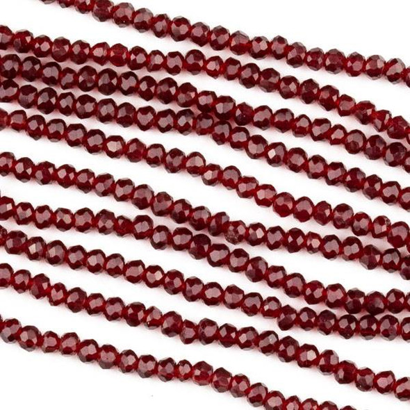 Crystal 2x2mm Light Siam Red Rondelle Beads -Approx. 15.5 inch strand