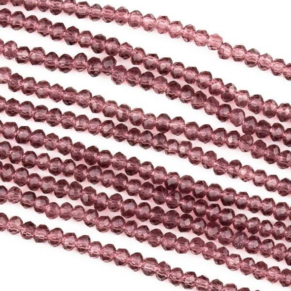 Crystal 2x2mm Medium Amethyst Purple Rondelle Beads -Approx. 15.5 inch strand