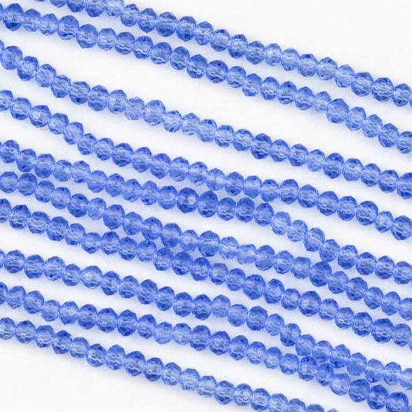 Crystal 2x2mm Medium Sapphire Blue Rondelle Beads -Approx. 15.5 inch strand