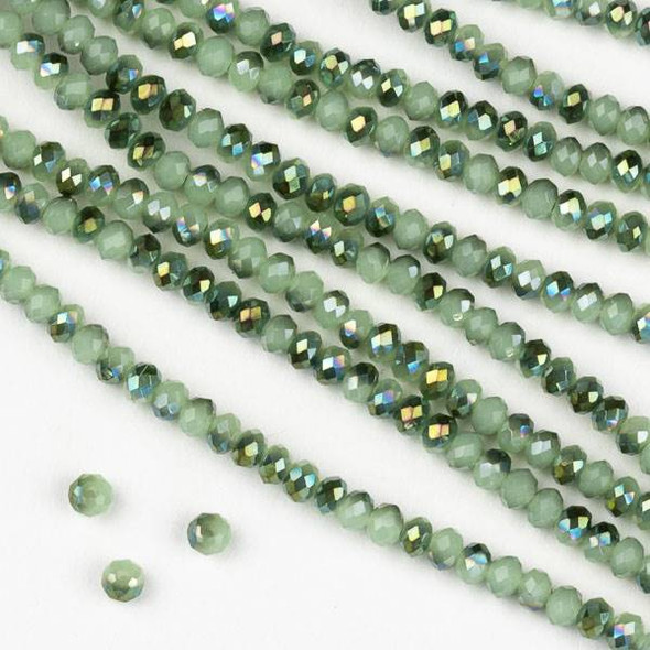 Crystal 2x2mm Opaque Spearmint Kissed Green Rondelle Beads - Approx. 15.5 inch strand