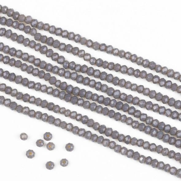 Crystal 2x2mm Opaque Fog Grey Rondelle Beads -Approx. 15.5 inch strand