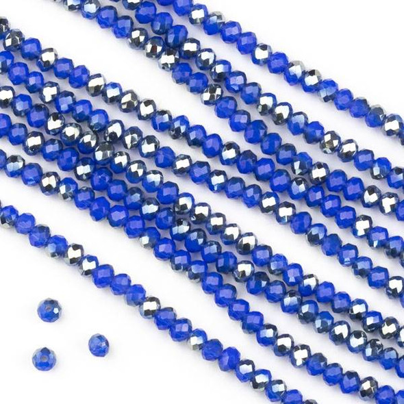 Crystal 2x2mm Opaque Silver Kissed Cornflower Blue Faceted Rondelle Beads - Approx. 15.5 inch strand