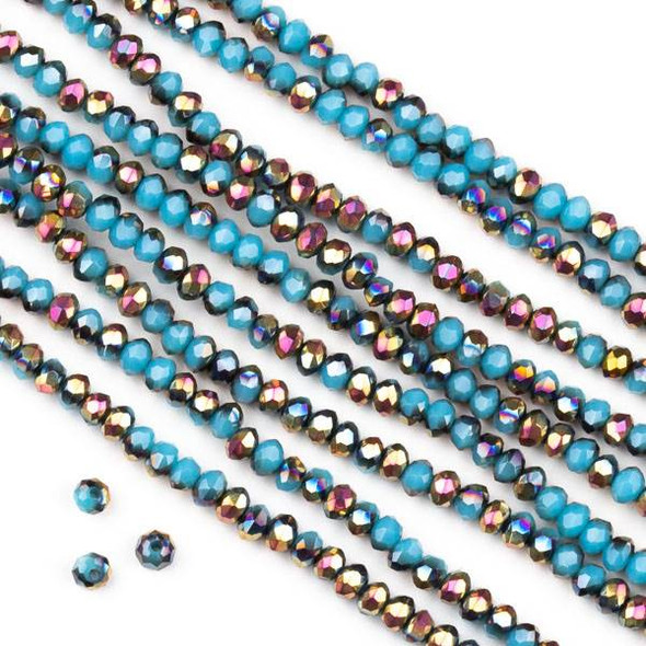 Crystal 2x2mm Opaque Hot Pink Golden Copper Kissed Wedgewood Blue Faceted Rondelle Beads - Approx. 15.5 inch strand