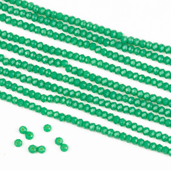 Crystal 2x2mm Opaque Jade Green Rondelle Beads -Approx. 15.5 inch strand
