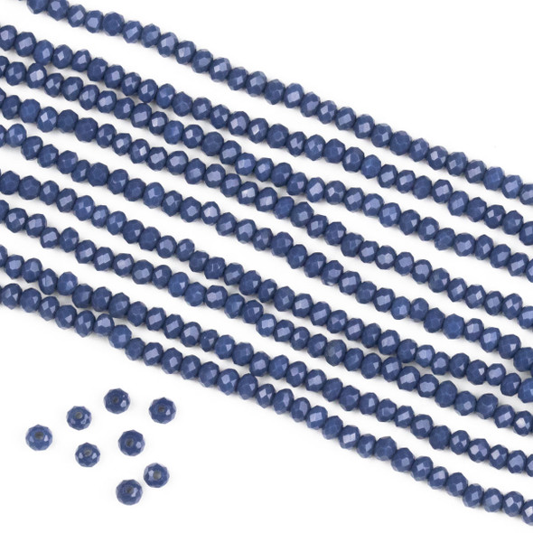 Crystal 2x2mm Opaque Kyanite Blue Rondelle Beads -Approx. 15.5 inch strand