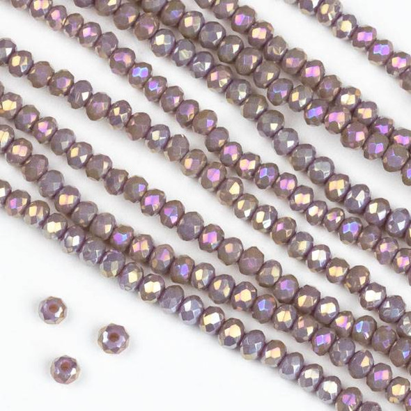 Crystal 2x2mm Light Purple Hydrangea Rondelle Beads with an AB finish - Approx. 15.5 inch strand