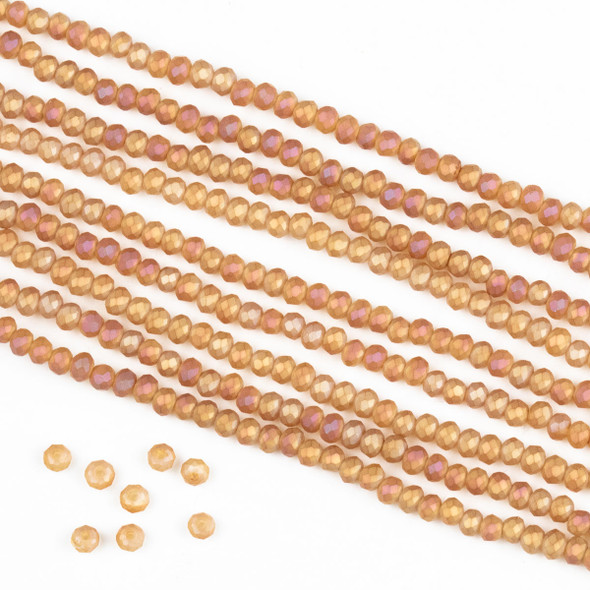 Crystal 2x2mm Opaque Matte Sunset Orange Rondelle Beads -Approx. 15.5 inch strand