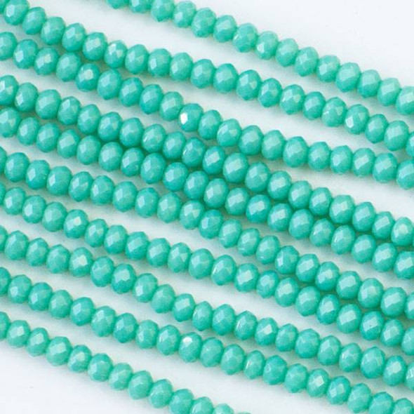 Crystal 2x2mm Opaque Ocean Blue Rondelle Beads - Approx. 15.5 inch strand