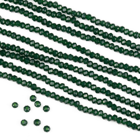 Crystal 2x2mm Opaque Pine Green Rondelle Beads -Approx. 15.5 inch strand