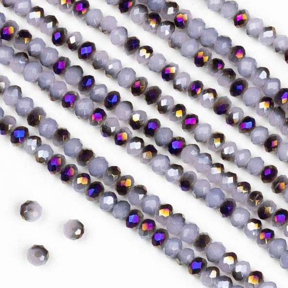Crystal 2x2mm Purple Rainbow Kissed Opaque Light Pink Hydrangea Rondelle Beads - Approx. 15.5 inch strand