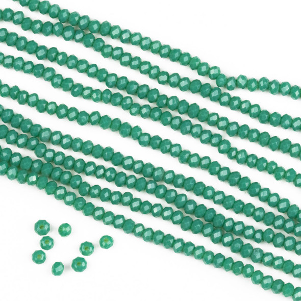 Crystal 2x2mm Opaque Poseidon Green Rondelle Beads -Approx. 15.5 inch strand