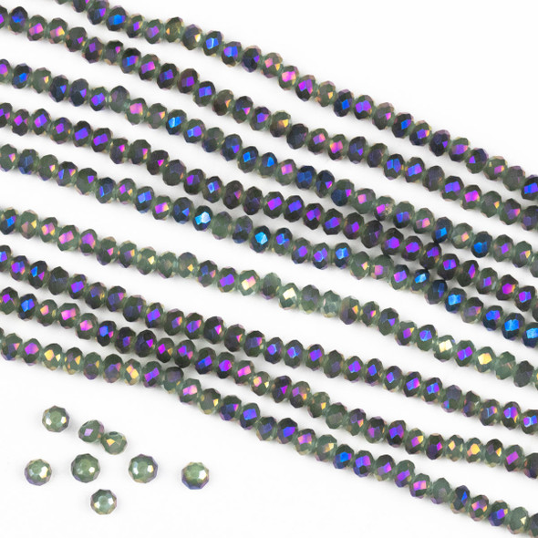 Crystal 2x2mm Opaque Purple Rainbow Kissed Spanish Moss Green Rondelle Beads -Approx. 15.5 inch strand