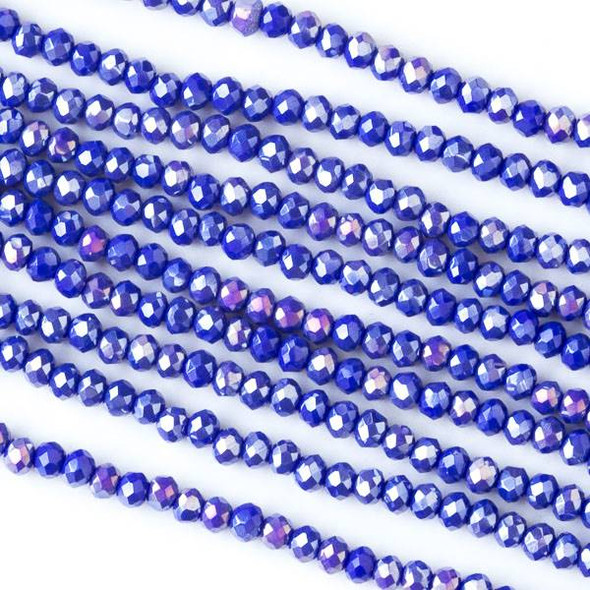 Crystal 2x2mm Opaque Royal Blue Faceted Rondelle Beads with an AB finish - Approx. 15.5 inch strand