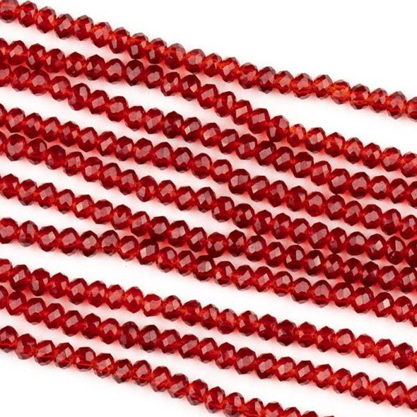Crystal 2x2mm Red Rondelle Beads -Approx. 15.5 inch strand
