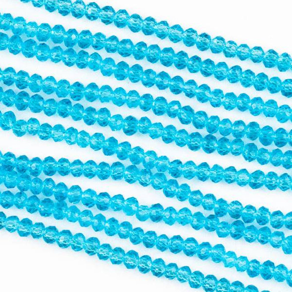 Crystal 2x2mm Sky Blue Rondelle Beads -Approx. 15.5 inch strand