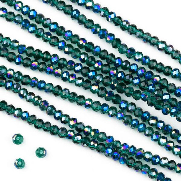 Crystal 2x2mm Blue Rainbow Kissed Teal Green Faceted Rondelle Beads - Approx. 15.5 inch strand