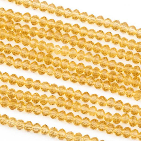 Crystal 2x3mm Champagne Rondelle Beads -Approx. 15.5 inch strand