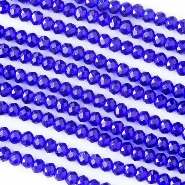 Crystal 2x3mm Cobalt Blue Faceted Rondelle Beads - Approx. 15.5 inch strand