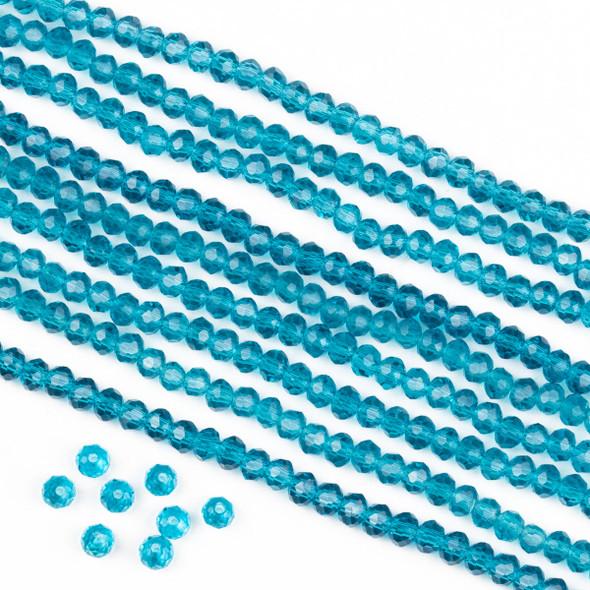 Crystal 2x3mm Dark Caribbean Aqua Blue Rondelle Beads -Approx. 15.5 inch strand