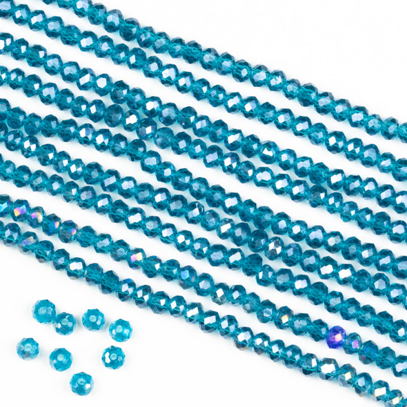 Crystal 2x3mm Dark Caribbean Aqua Blue Rondelle Beads with an AB finish -Approx. 15.5 inch strand