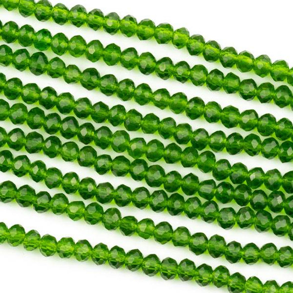 Crystal 2x3mm Dark Emerald Green Rondelle Beads -Approx. 15.5 inch strand