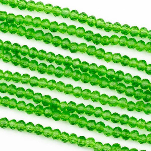 Crystal 2x3mm Emerald Green Rondelle Beads - Approx. 15.5 inch strand