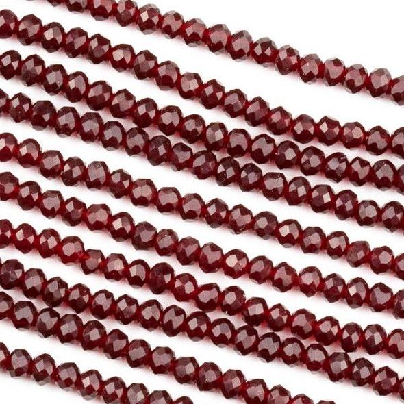 Crystal 2x3mm Garnet Red Rondelle Beads - Approx. 15.5 inch strand
